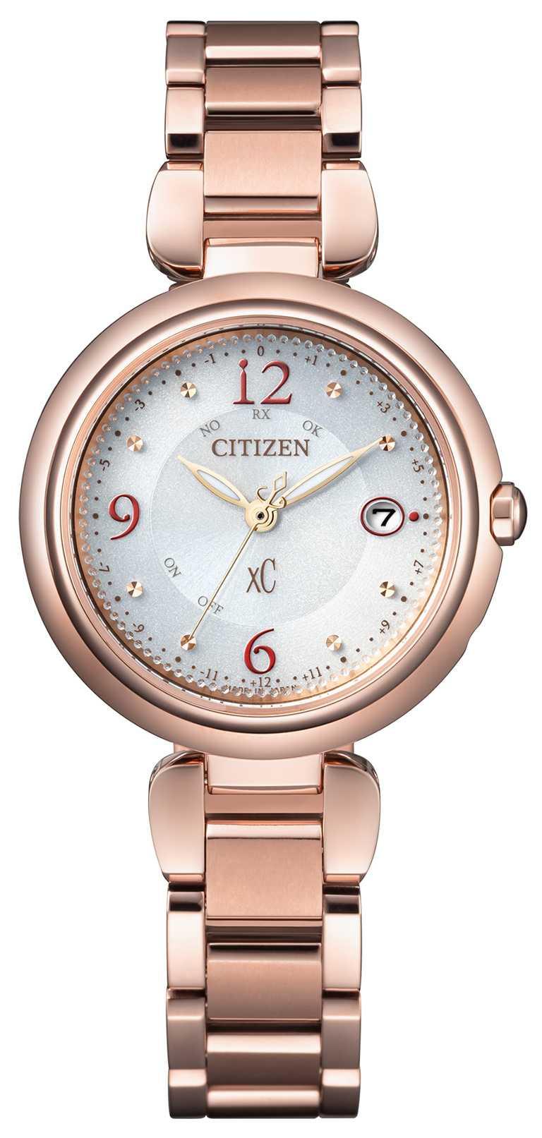 CITIZEN「xC」系列腕錶「水耀光」亞洲限定款,Hebe田馥甄廣告款(型號ES9468-51A)╱鈦金屬、粉紅金錶殼,29mm,29,900元。(圖╱CITIZEN提供)
