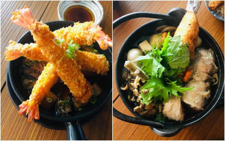 秋田米棒鍋(右)、炸蝦湯泡茄子。(圖/余玫鈴攝)