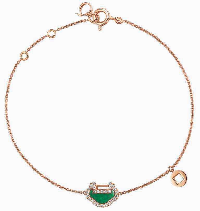 Qeelin「Petite Yu Yi」系列新品,18K玫瑰金翡翠鑲鑽手鍊╱55,000元。(圖╱Qeelin提供)