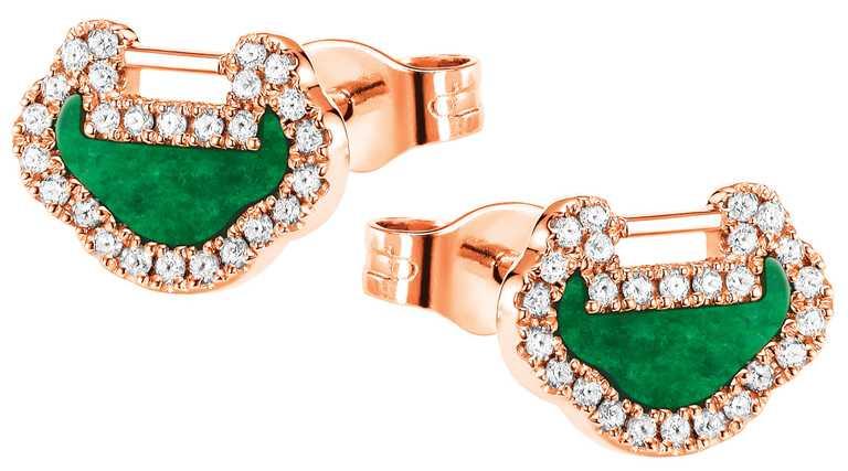 Qeelin「Petite Yu Yi」系列新品,18K玫瑰金翡翠鑲鑽耳環╱71,500元。(圖╱Qeelin提供)