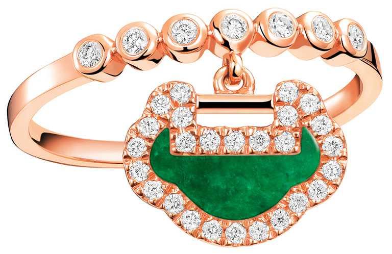 Qeelin「Petite Yu Yi」系列新品,18K玫瑰金翡翠鑲鑽戒指╱53,500元。(圖╱Qeelin提供)