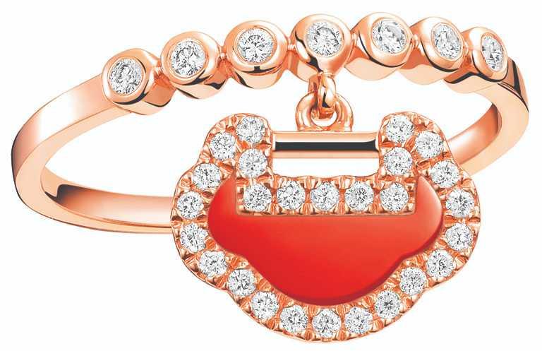 Qeelin「Petite Yu Yi」系列,18K玫瑰金紅瑪瑙鑲鑽戒指╱價格店洽。(圖╱Qeelin提供)