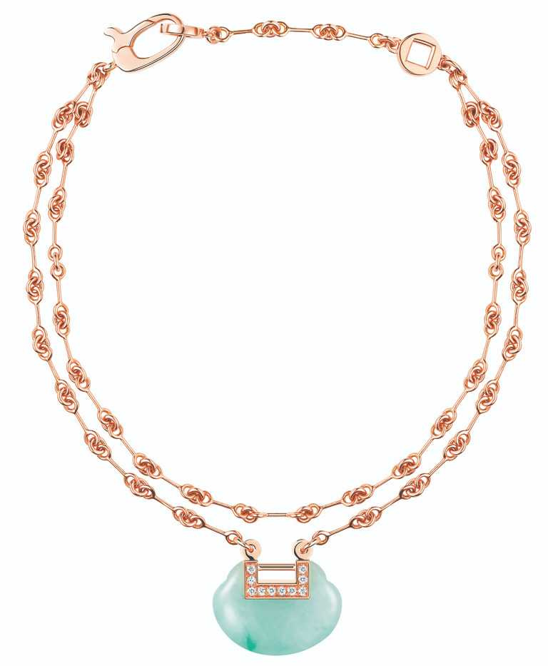 Qeelin「Yu Yi」系列,18K玫瑰金玉石鑲鑽雙鍊手鍊╱124,000元。(圖╱Qeelin提供)