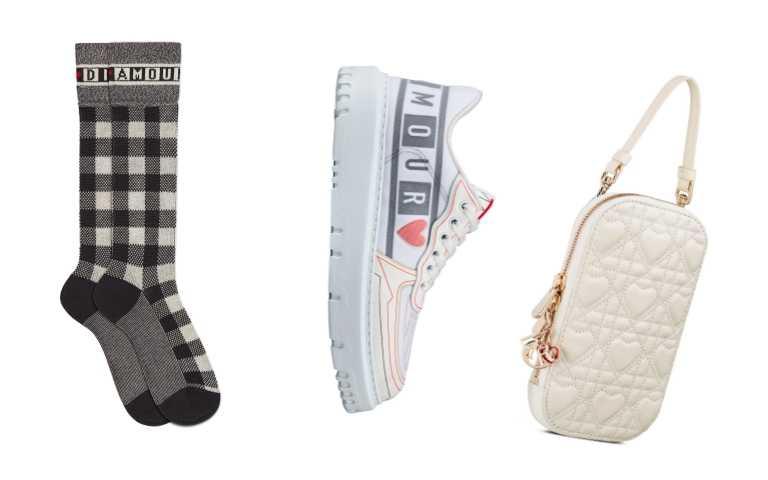 Dior DiorAmour系列配件類品項:(左起)Dior DiorAmour系列黑白棋盤格愛心印花長襪/12,500元;Dior Addict 黑白棋盤格愛心印花休閒鞋/35,000元;Lady Dior白色愛心籐格紋小羊皮手機套/38,500元(圖/品牌提供)