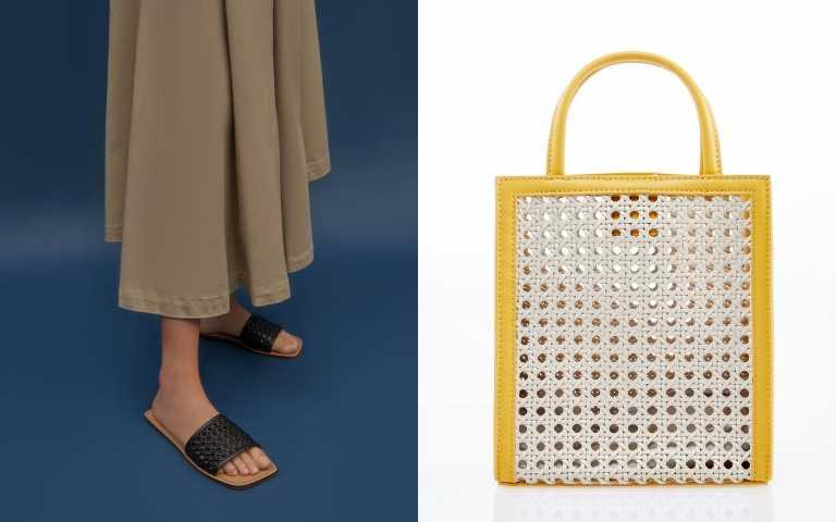 CHARLES & KEITH 編織方頭拖鞋/1490元、編織手提包2390元(圖/品牌提供)