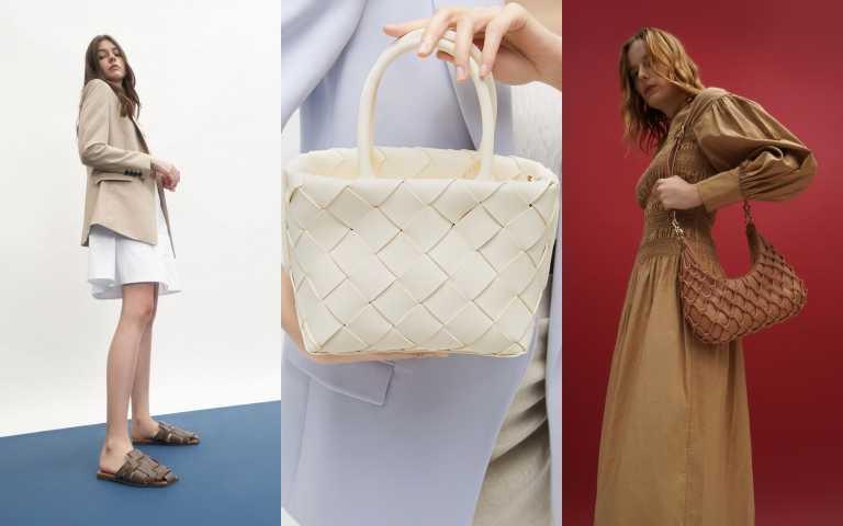 CHARLES & KEITH 幾何編織拖鞋/1590元、寬編織手提包/2190元、網狀編織單肩包/3290元(圖/品牌提供)
