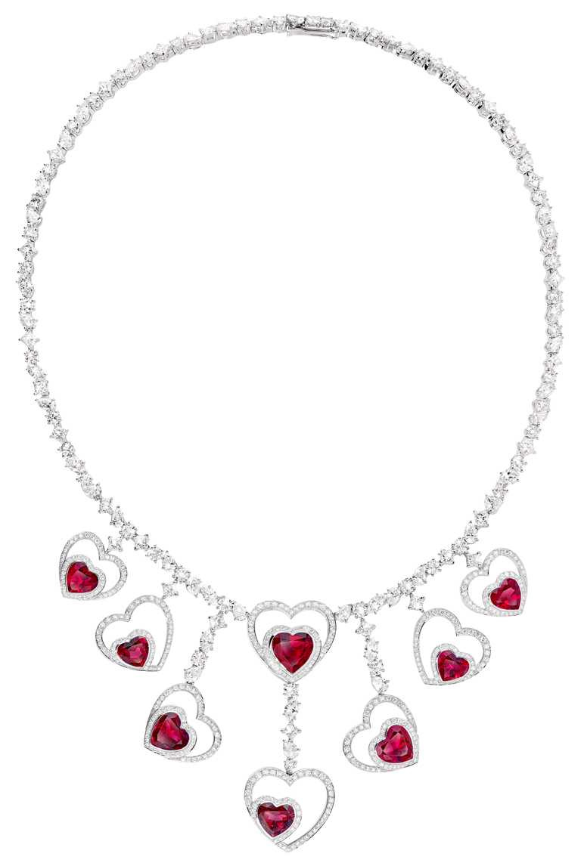 FRED「Pretty Woman」高級珠寶系列,Audacious紅碧璽鑽石項鍊╱7,416,700元。(圖╱FRED提供)