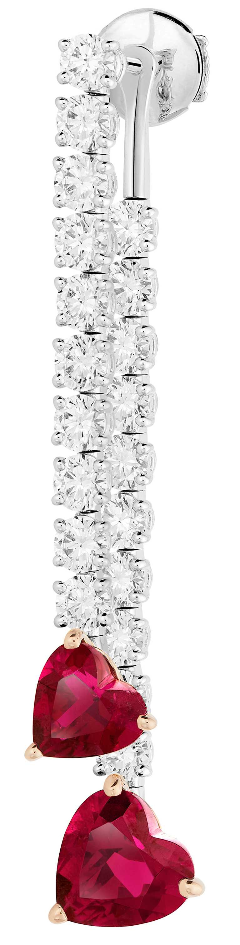 FRED「Pretty Woman」高級珠寶系列,Glamorous 紅碧璽鑽石耳環╱1,096,500元。(圖╱FRED提供)