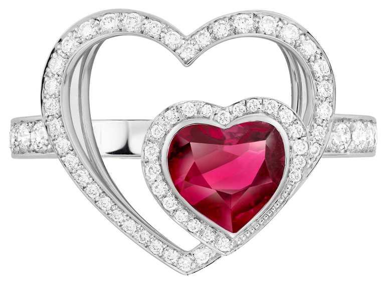 FRED「Pretty Woman」高級珠寶系列,Unconditional紅碧璽鑽石戒指╱340,900元。(圖╱FRED提供)