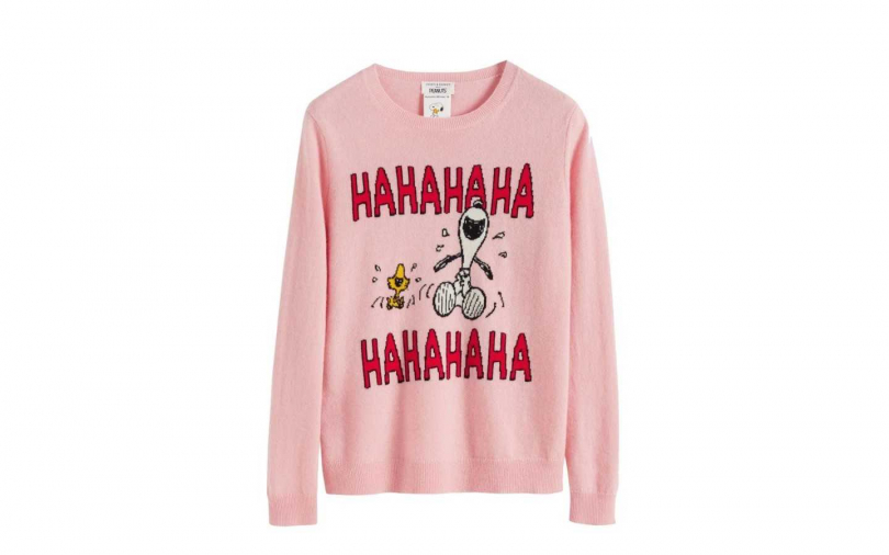 Chinti&Parker Pink Laughing Snoopy Sweater毛衣 By MINOSHIN/18,600元(圖/品牌提供)