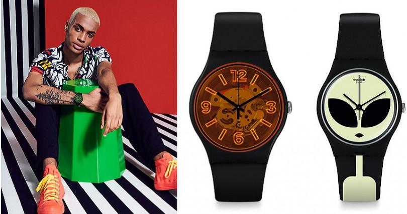 就是搶眼-黃手錶NT2,500,就是搶眼-橘手錶NT2,500,外星突擊NT2,050(圖/Swatch提供)