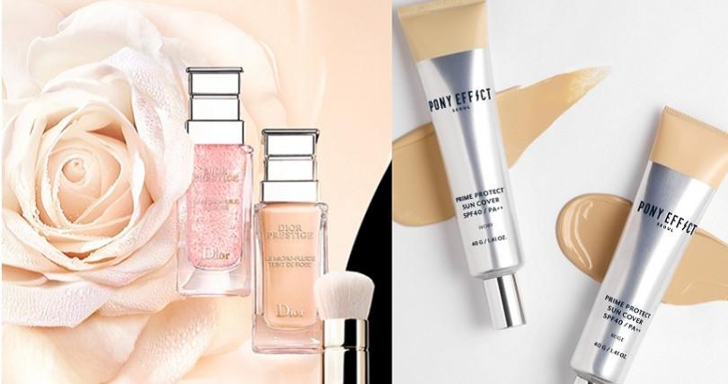 (左)Dior精萃再生花蜜微導粉底/3,950元;(右)PONY EFFECT懶美保濕無瑕ZZ霜40g/1,200元。