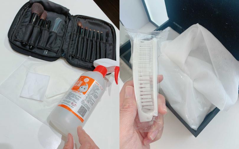因應新冠肺炎疫情,會搭配使用到的許多刷具、海棉都有使用酒精消毒,或是更換為一次性的拋棄型濕紙巾,完全可以很安心。(圖/吳雅鈴攝影)