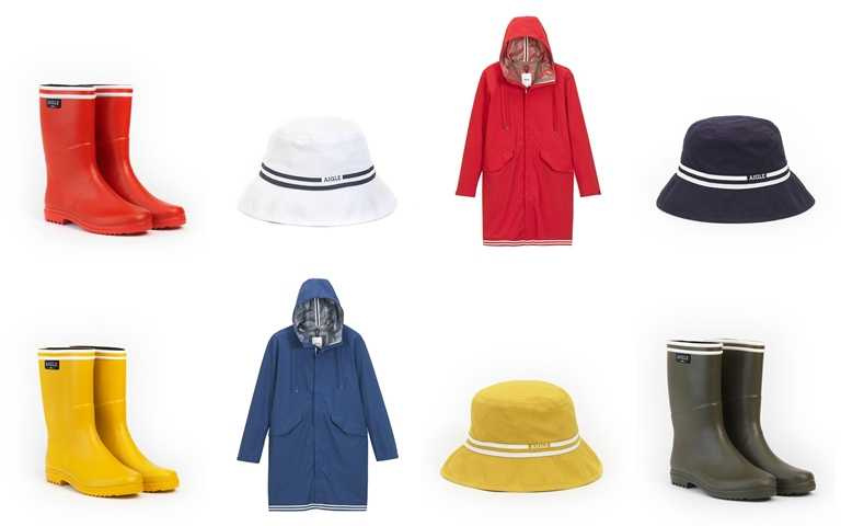 系列商品包括雨鞋、防水外套、帽款、背包、休閒T恤等。(圖/AIGLE)