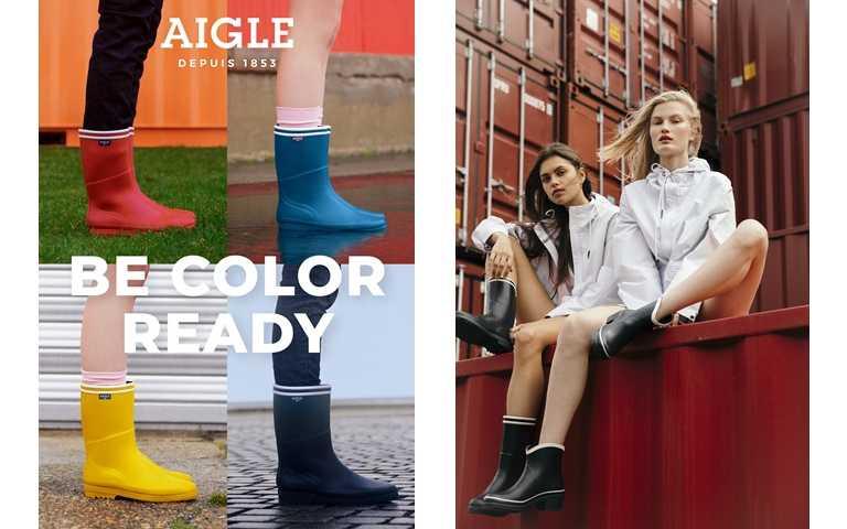 鮮豔色彩的休閒雨鞋呼應了「BE COLOR READY」標語,讓春時尚更顯活潑!(圖/AIGLE)