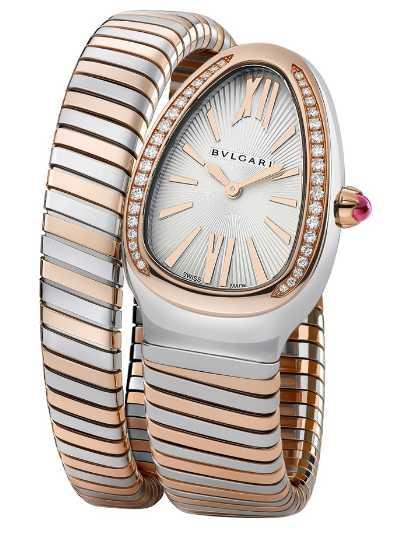 BVLGARI「SERPENTI TUBOGAS」玫瑰金精鋼單圈鑲鑽腕錶╱413,400元(圖╱BVLGARI提供)