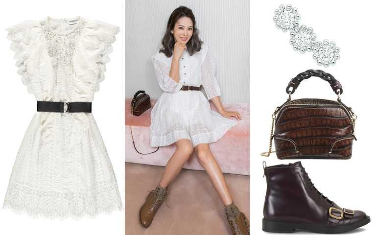 妳可以這樣買。glimmer boutique蕾絲荷葉洋裝/18,800元、Dior Mimirose 白K金鑽石耳環/53,250元、Chloé Daria深咖啡鱷魚壓紋迷你肩背手提兩用包(Mini Daria)/55,900元、TOD'S Half Boots/32,200元(圖/翻攝Melody IG、品牌提供)