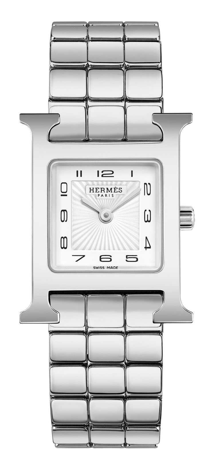 HERMÈS「HEURE H」精鋼鍊帶腕錶,316L精鋼錶殼,21mm,石英機芯╱103,700元。(圖╱HERMÈS提供)