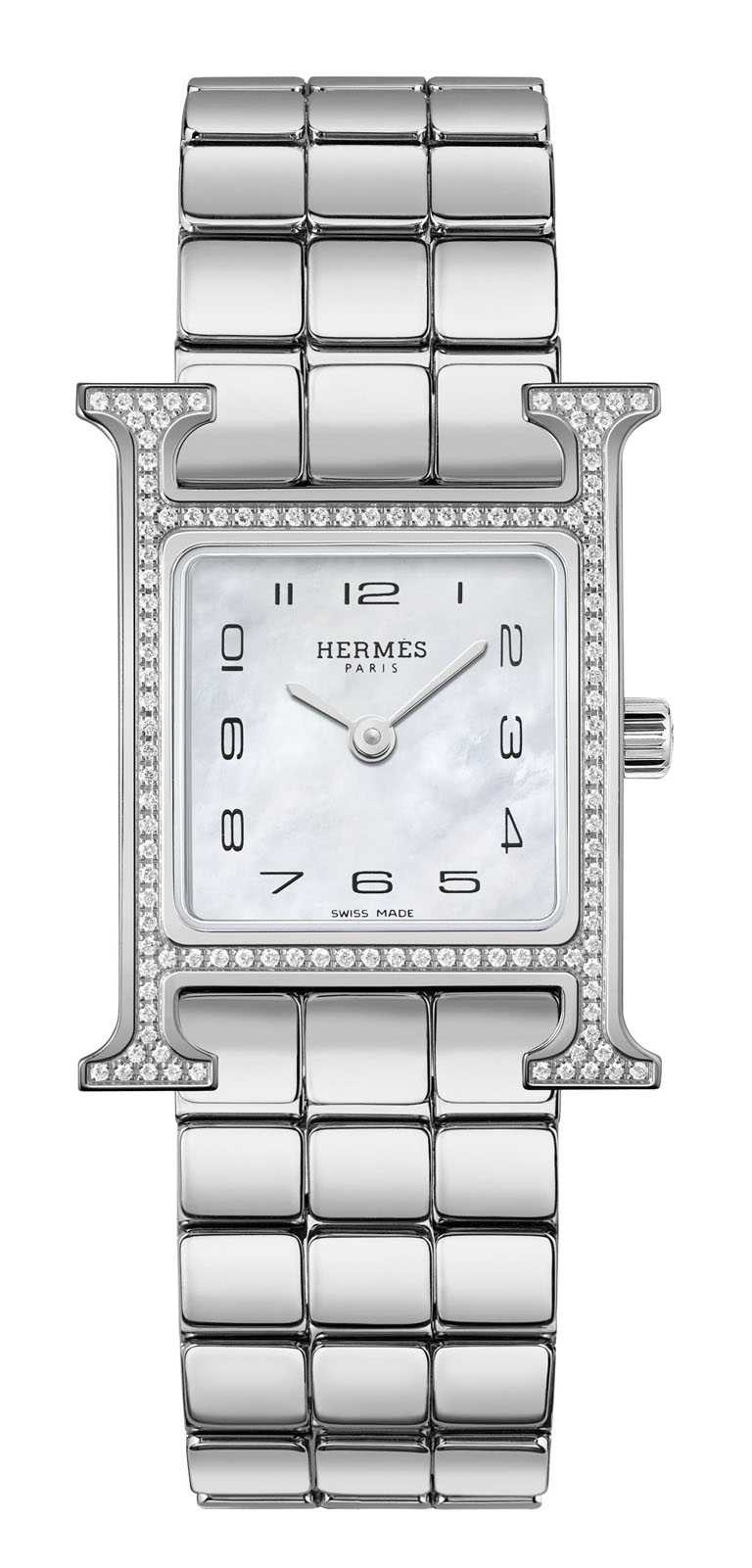 HERMÈS「HEURE H」精鋼鍊帶腕錶,316L精鋼錶殼,21mm,鑽石114顆╱182,500元。(圖╱HERMÈS提供)