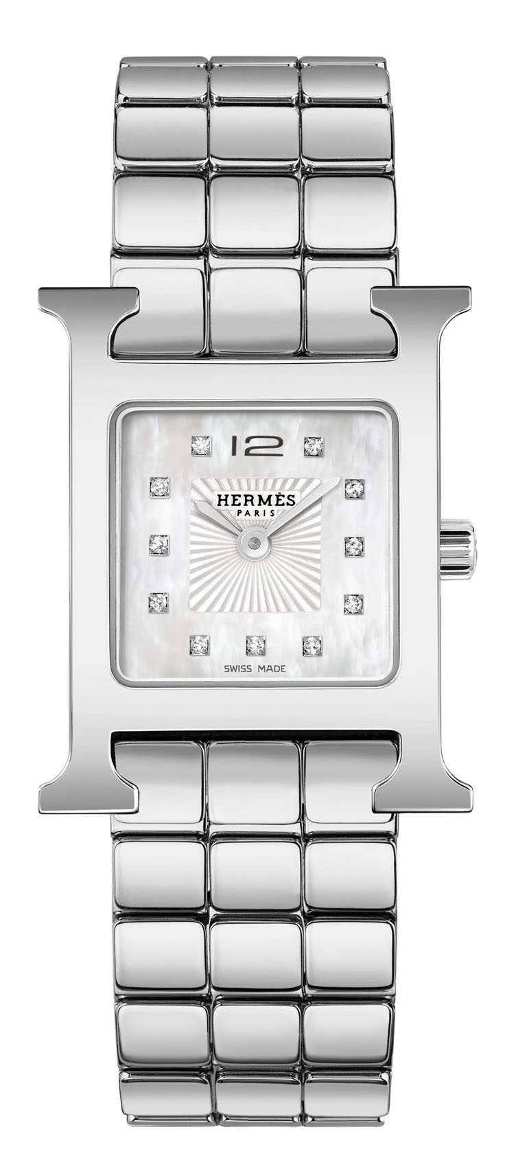 HERMÈS「HEURE H」精鋼鍊帶腕錶,316L精鋼錶殼,21mm,鑽石11顆╱136,900元。(圖╱HERMÈS提供)