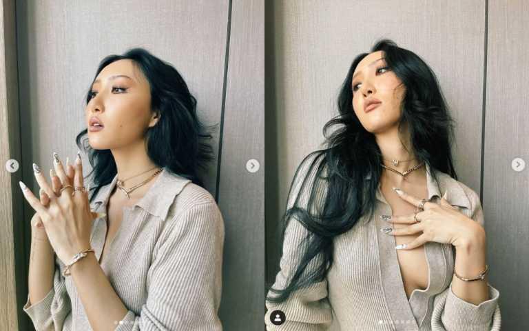 韓國女團MAMAMOO團員華莎(Hwasa)以裸色衣著搭配若隱若現的健美膚色,撩人姿態完美演繹靈蛇的魅惑之姿。(圖/IG)