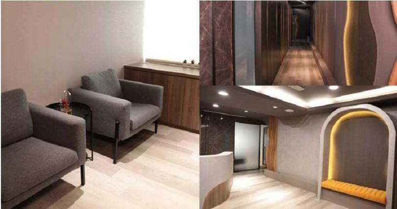 以灰色調為主的走廊、大廳、休息室。(圖/品牌提供)