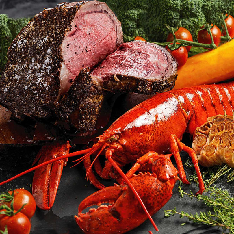 厚切爐烤肋眼牛排龍蝦分享餐。(圖/晶華國際酒店集團提供)