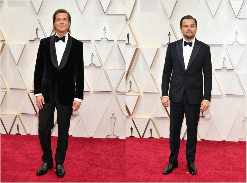 《從前,有個好萊塢》中的布萊德彼特(左)和李奧納多狄卡皮歐承包了紅毯上的帥氣。