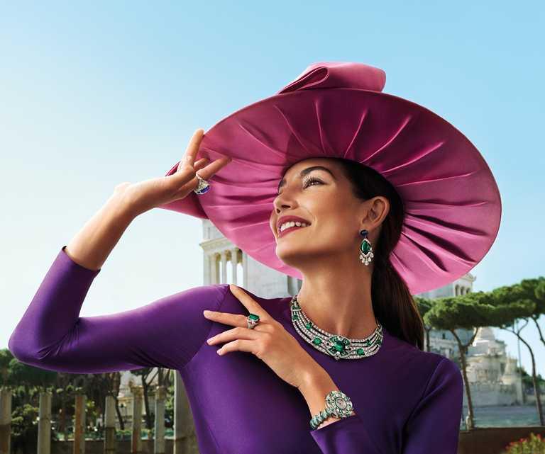 美國超模莉莉‧奧爾德里奇(Lily Aldridge),完美演繹BVLGARI頂級珠寶系列作品。(圖╱BVLGARI提供)