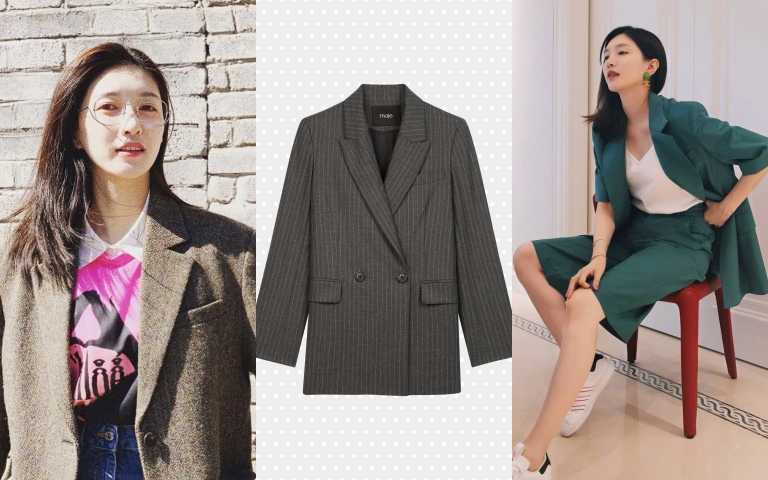編輯推薦: Maje直條紋西裝外套/17,390元:(圖/IG、品牌提供)