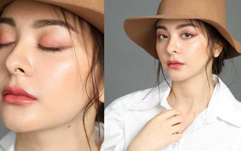 模特兒BESSIE為我們示範秋冬的復古玫瑰色眼妝。(圖/戴世平攝影)