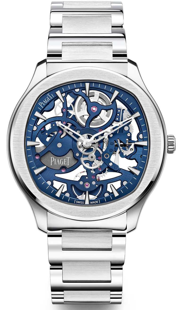 PIAGET「Polo」系列,伯爵藍鏤空超薄精鋼腕錶,42mm,精鋼錶殼,自製1200S型自動上鍊鏤空機芯╱895,000元。(圖╱PIAGET提供)