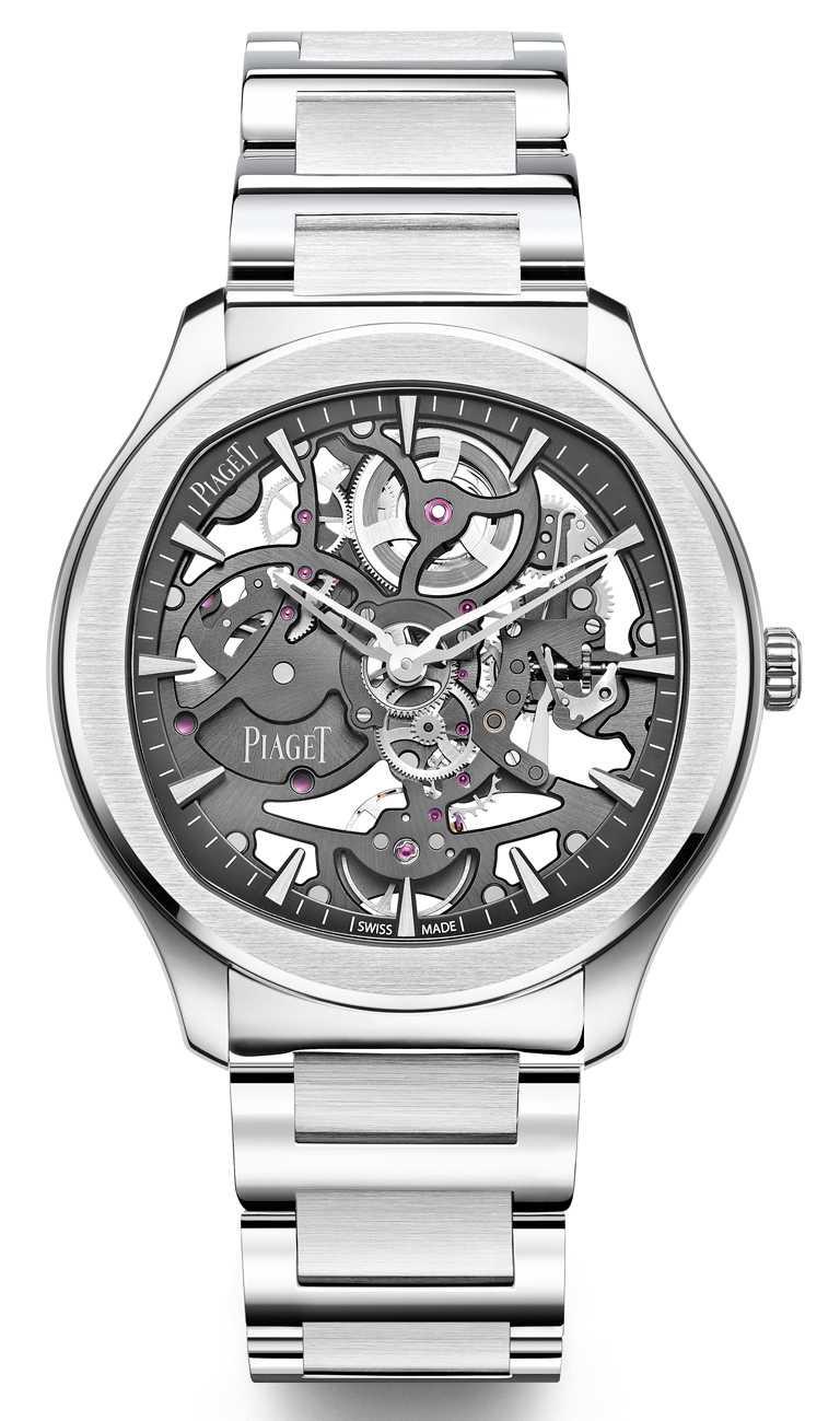 PIAGET「Polo」系列,岩石灰鏤空超薄精鋼腕錶,42mm,精鋼錶殼,自製1200S型自動上鍊鏤空機芯╱895,000元。(圖╱PIAGET提供)