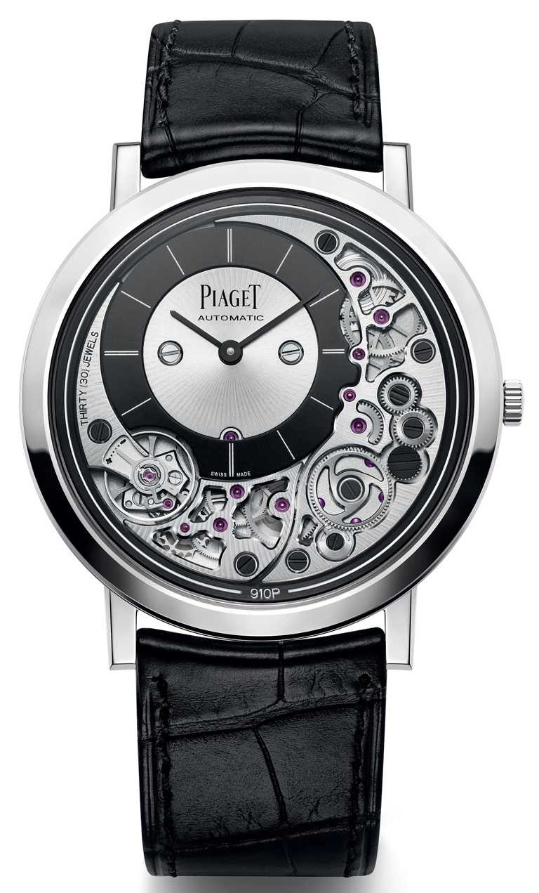 PIAGET「Altiplano Ultimate Automatic」系列,超薄自動上鍊腕錶,41mm,18K白金錶殼,自製910P型自動上鍊機芯╱935,000元。(圖╱PIAGET提供)