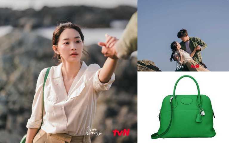 申敏兒在第二集就背上Hermès Bolide綠色款,被喻為保齡球包的Bolide系列(圖/TVN)