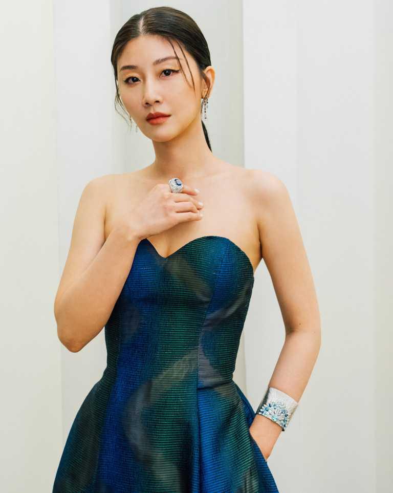 第23屆台北電影獎頒獎嘉賓朱芷瑩,佩戴伯爵「Sunlight Escape」系列頂級珠寶,,盡顯高雅知性。(圖╱PIAGET提供)
