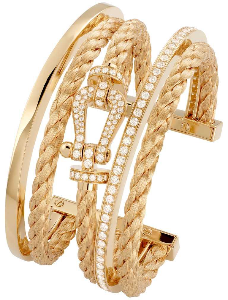 FRED「Force 10」高級珠寶系列,黃K金三環手環╱1,082,400元。(圖╱FRED提供)