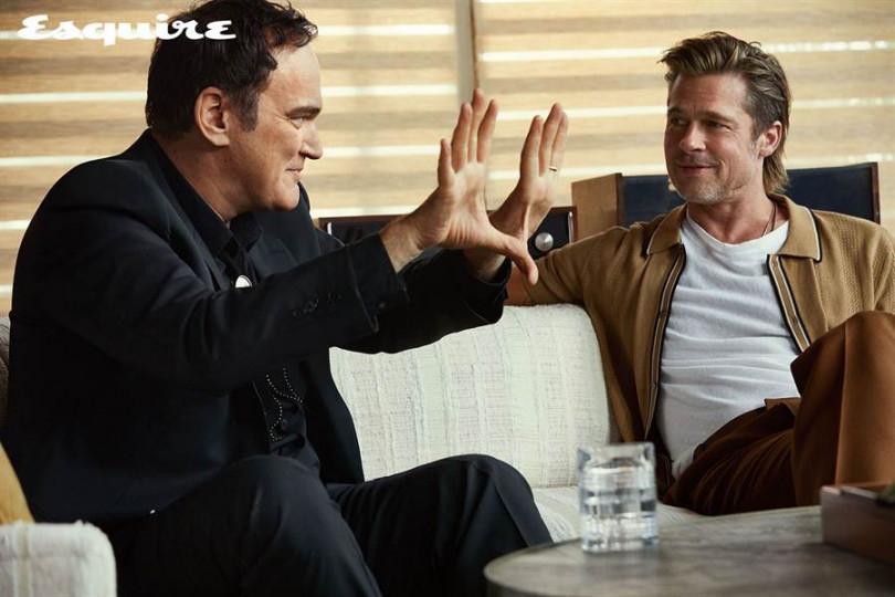 導演昆汀塔倫提諾(左)與布萊德彼特一起接受雜誌專訪。(圖/君子雜誌提供)