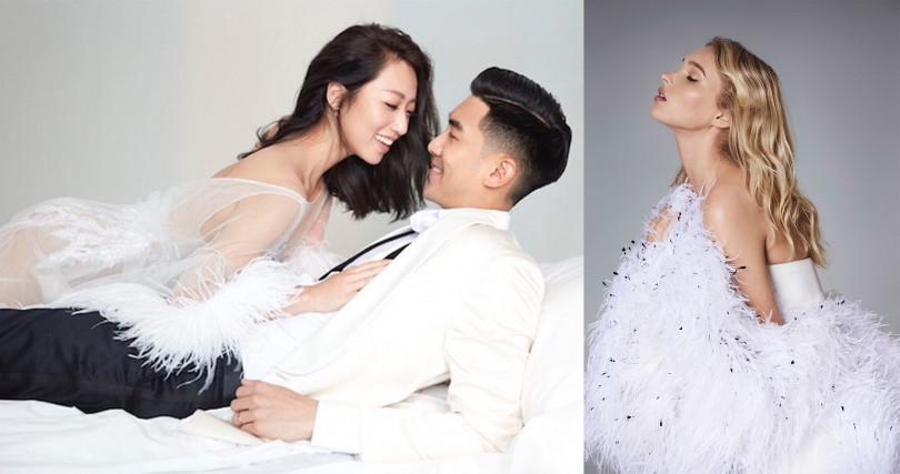 造型師羅雯也稱他們的婚紗是:最美婚紗,有了名人加持更有保證。(圖/@tiffanywenlo IG、廠商提供)