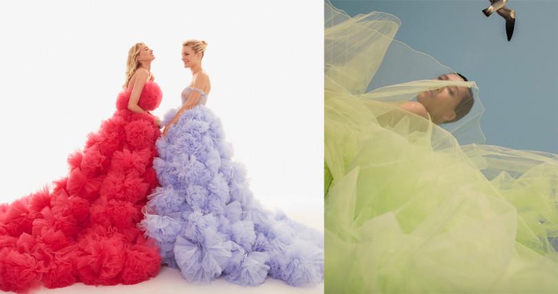 超美的公主風彩色紗,穿起來不俗氣更增氣場。(圖/廠商提供、@molly_chiang IG)