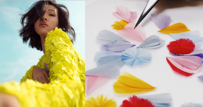 考驗製作技巧的鵝毛花,今年品牌也把它也用在婚紗上。(圖/@molly_chiang IG、@nicolefeliciacouture IG)