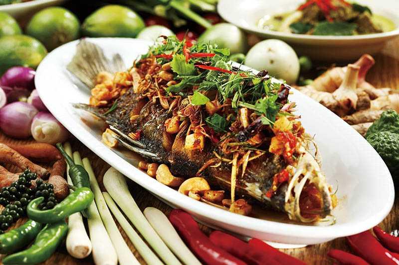 在泰國家庭常見的「泰式古法炸鱸魚」,全魚炸後在淋上自製醬汁,以魚露、檸檬提味上桌。(980元)(圖/于魯光)