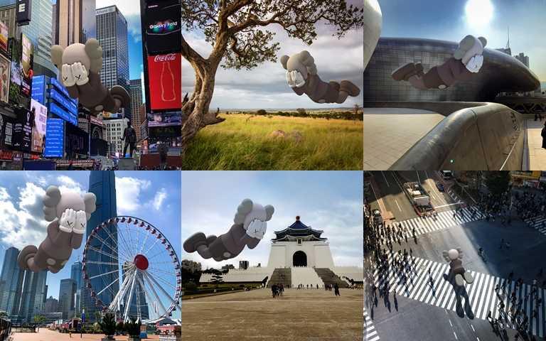 紐約時代廣場、首爾東大門DDP、台北中正紀念堂、澀谷十字路口等全世界各地都能找到KAWS喔!(圖/AcuteArt)
