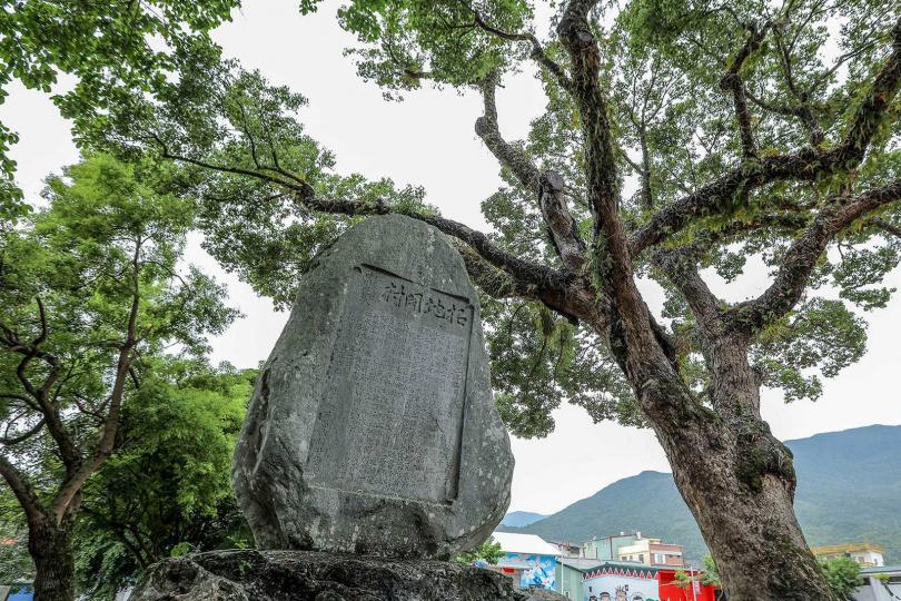 吉野拓地開村記念碑及200年歷史的樟樹,佇立在此見證歷史。(圖/林士傑攝)