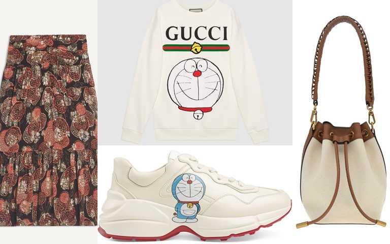 喜歡她的造型妳可以這樣搭>>GUCCI 哆啦A夢Rhyton系列運動鞋/32,400元、CHARLES&KEITH帆布抽繩水桶包/價格店洽 、glimmer boutique棕紅色長裙/16,800元、Doraemon*Gucci聯名系列棉質衛衣/38,000元(圖/品牌提供)