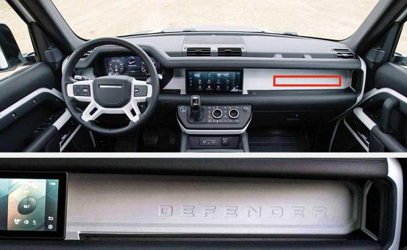 以鋁鎂合金雙橫樑融入中控台中,在副駕駛座前的橫樑上將Defender字樣壓鑄在其中。(圖/黃耀徵攝、LAND ROVER提供)