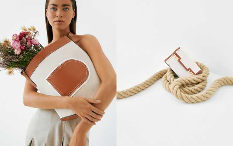 帆布與牛皮滾邊手袋/88,300元、帆布與牛皮滾邊鏈帶小包/75,900元。(圖/品牌提供)