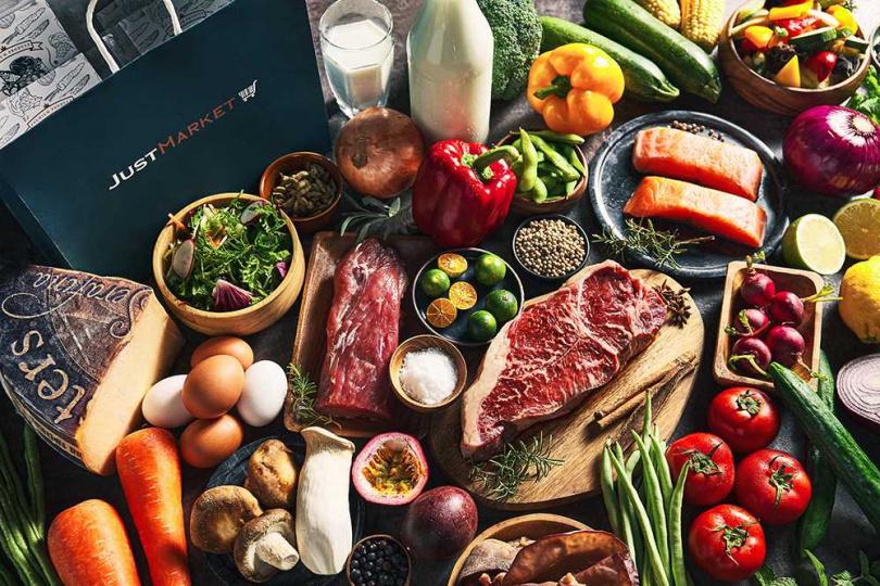 品牌也進軍生鮮食材市場打造 「Just Market」滿足自煮需求。(圖/Just Kitchen提供)