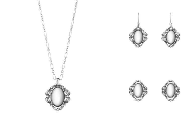 (左)GEORG JENSEN 2022年度紀念純銀鍊墜/8,800元;(右上)2022年度紀念純銀耳環/8,800元;(右下)2022年度紀念純銀夾式耳環/8,800元(圖/品牌提供)