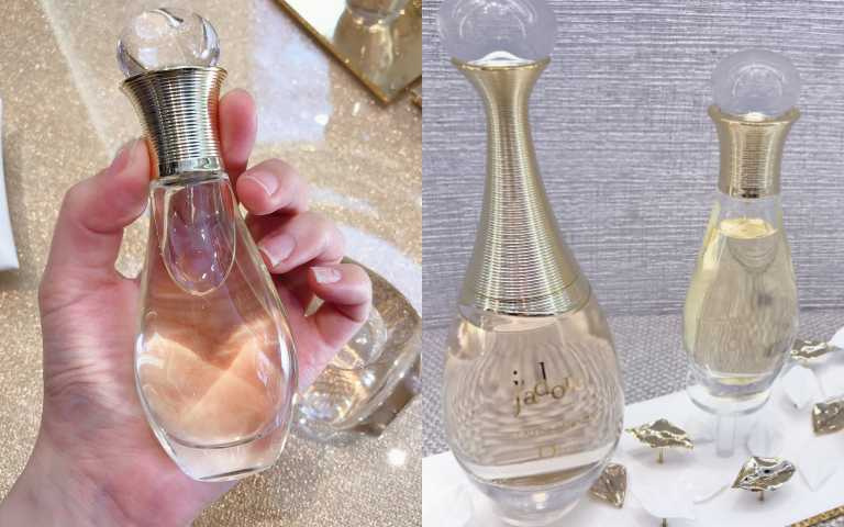 左為《J'adore香氛髮香噴霧》方便攜帶的經典細頸瓶身,隨時隨地都能妝點髮絲。輕輕噴上,髮絲爍自然光澤。(右)Dior J'adore香氛 50ml/4,000元 ; 100ml/5,750元、J'adore香氛髮香噴霧40ml/1,650元(圖/黃筱婷攝影)